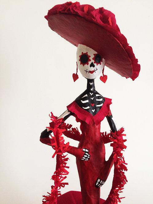 Catrina con vestido rojo