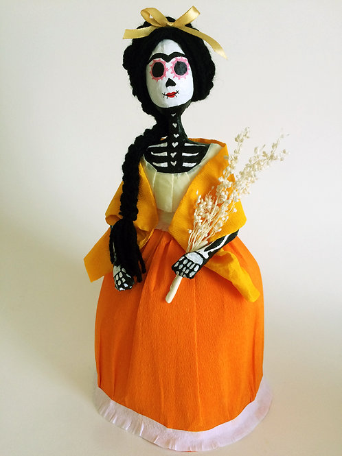 Catrina falda naranja