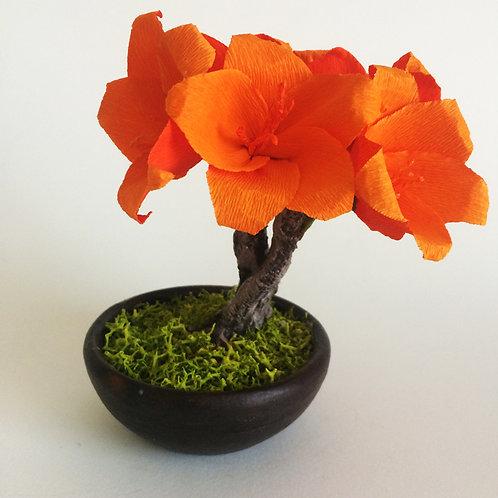 Bonsai de papel azalea naranja