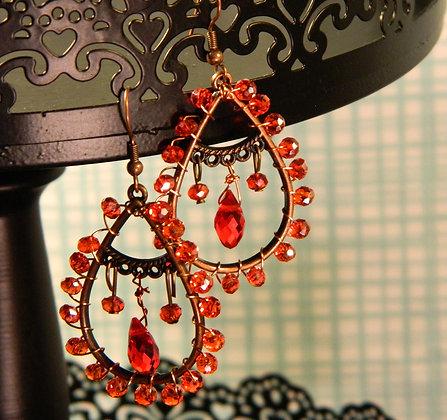 Copper and Orange Beaded Earrings