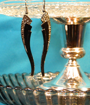 Black and Silver Angle Earrings