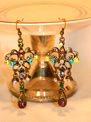 Multi-Rhinestone Dangle Earring