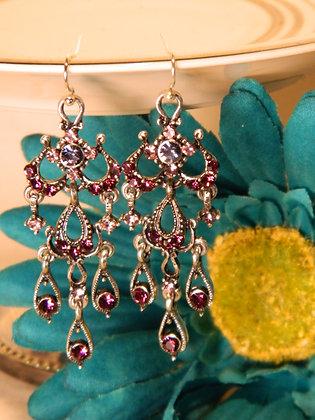 Purple Rhinestone and Pewter Earrings