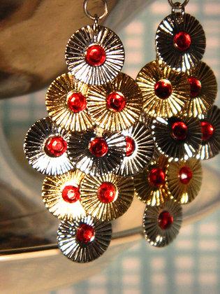 Red Rhinestone Disc Earrings