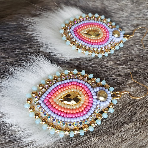 Spring Bud Earring in Peach, Pink, and Purple with Rabbit Fur