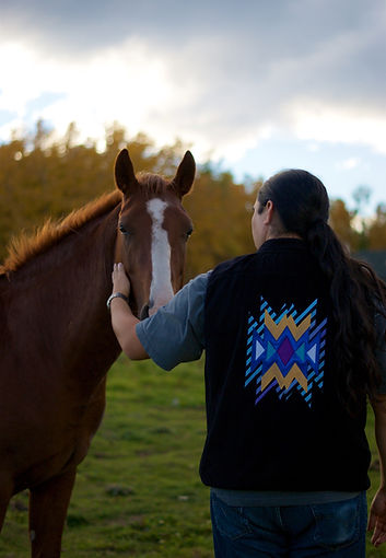 Horse and Indigenous man