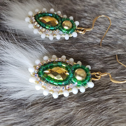 Mini Spring Bud in Green and White with Rabbit Fur