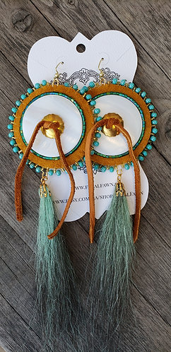 Green Porcupine Hair Earrings
