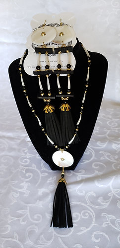 Mother of Pearl and Layered Dentalium Shell  Set with Leather Tassels