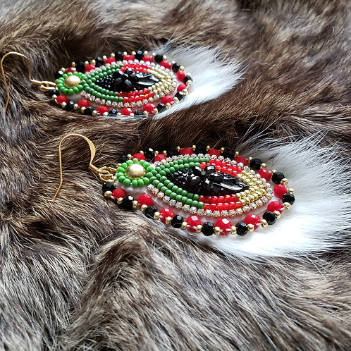 Rosebud Earring with Vintage Beads and Rabbit Fur