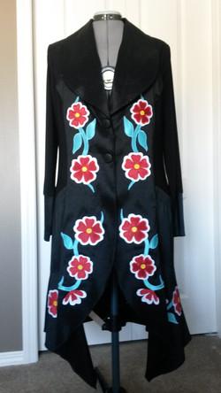 flower applique long jacket