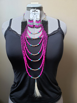 woman's beaded layer necklace