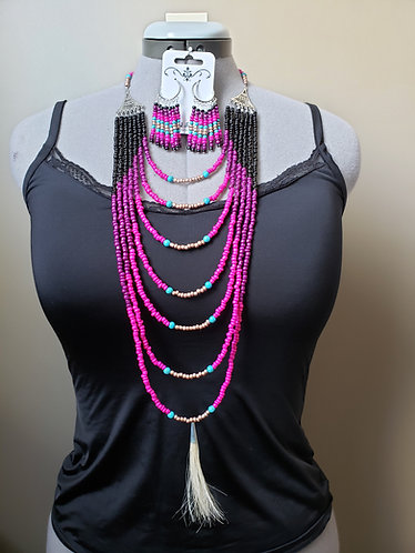 Violet, Pink, Turquoise, and Black Multilayered Necklace with Horse Hair