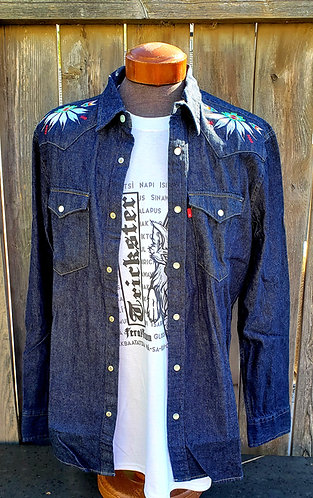 Denim Shirt with Geometric Embroidery