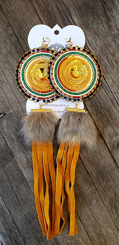 Gold Colored Cab Beaded Earrings with Suede Fringe and Rabbit Fur