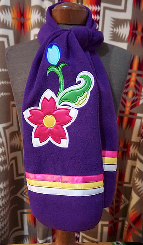 Fleece Scarf with Native Floral Appliqué and Ribbon Work