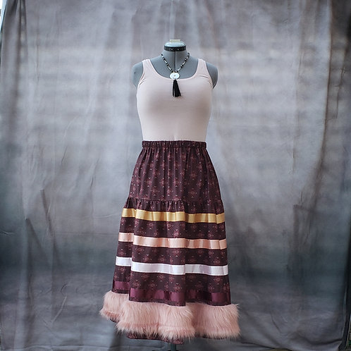 Maroon Ribbon Skirt with Pink Faux-fur