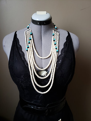 White, Turquoise, and Black Multilayered Unisex Necklace