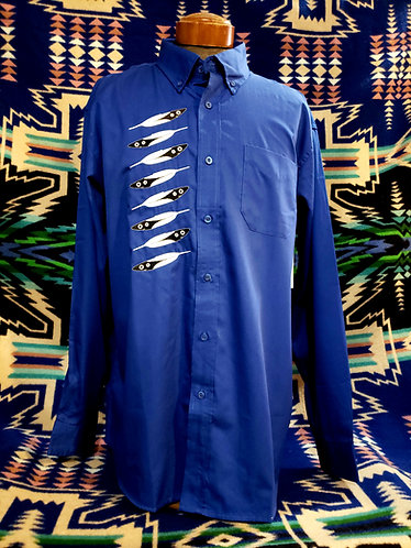 Men's Feather Embroidery Dress Shirt