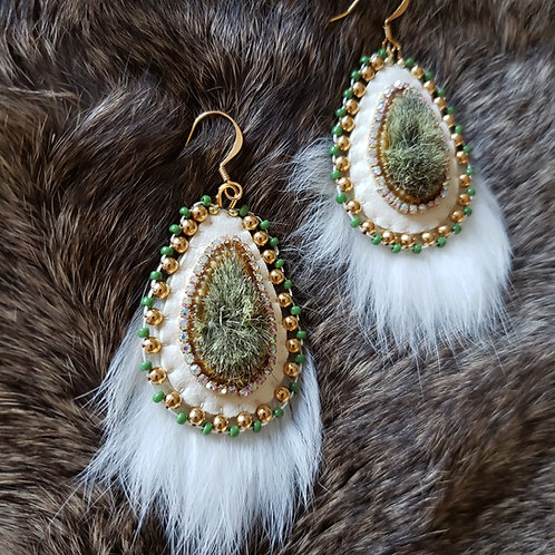 Olive Green Tufted Pussy Willow Earrings
