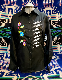 feather and flower shirt