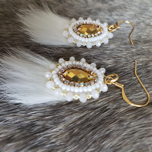 Mini Spring Bud in White and Gold with Rabbit Fur