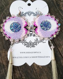 Pink and Purple beaded earrings