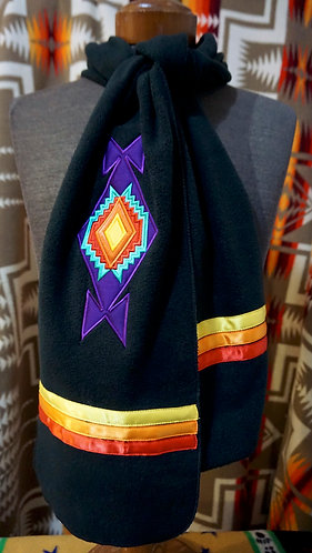 Mirrored Teepee Applique Native Scarf