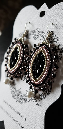 Black, Silver, and Dusty Pink Beaded Set