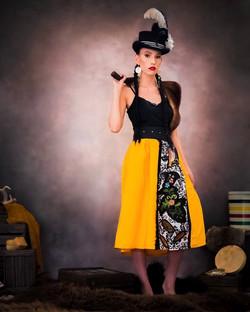 short mustard applique skirt