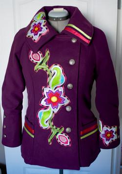 wool floral applique jacket