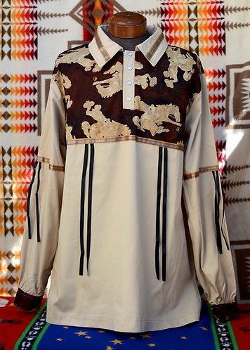 Beige Rodeo Design Ribbon Shirt