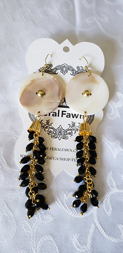Conch Shell Earrings with Black Faceted Beads