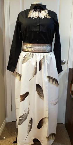 feather high-waisted skirt