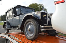Open top vintage car arriving in Napier