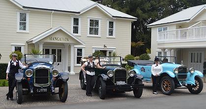 Vintage cars with female drivers outside Mangapapa Hotel