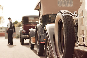 Convoy of classic bridal cars