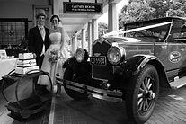 Art Deco wedding with car at Masonic Hotel Napier