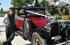 1920s weddings car with driver in Napier