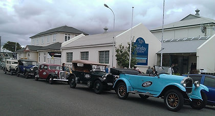 Convoy of vintage and Classic Cars outside the Faraday Centre Napier