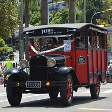 Vintage bus taking part in Napier Christmas parade