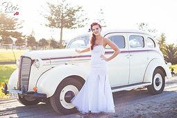 vintage bride with classic  car