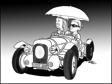 Caricature of Ana and David Brock-Jest in the V12 Lagonda