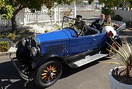Convertible vintage wedding car