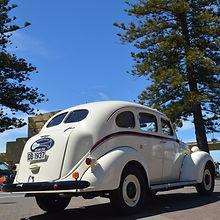 Art deco car parked on Napiers, Marine Parade