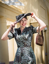 Beautiful lady dressed up in Art Deco attire in Napier