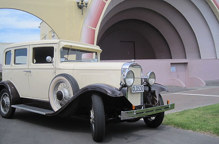 Hard Top Vintage car in front of the Soundshell, Napier