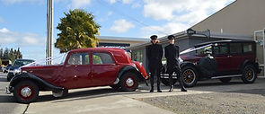 Vintage chauffeurs with Art Deco wedding cars