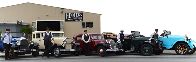 A line up of vintage and classic cars to tour the wineries of Hawke's Bay