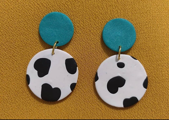 Round Cow Print Dangle
